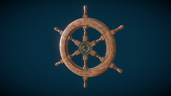 Ship Navigation Steering wheel Low-poly 3D model 3D Model