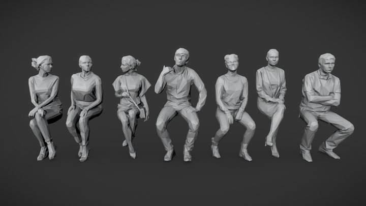 Lowpoly People Sitting Pack Vol.5 3D Model