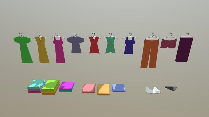 women Cloths low poly 3D Model