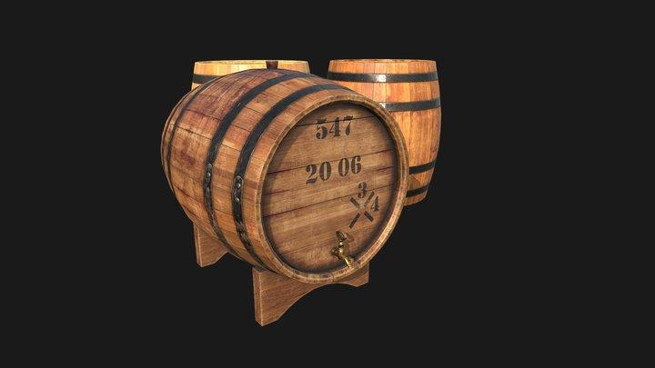 Wooden wine barrels 3D Model
