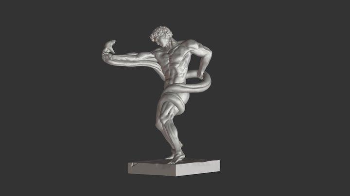 Athlete Wrestling a Python 3D Model