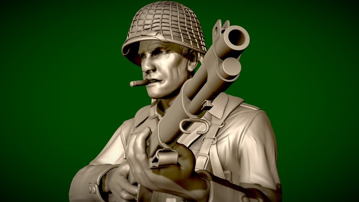 American soldier WW2 with cigar - 3d-printable 3D Model