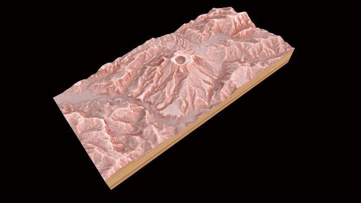 Redrelief Chichon Volcano 3D Model