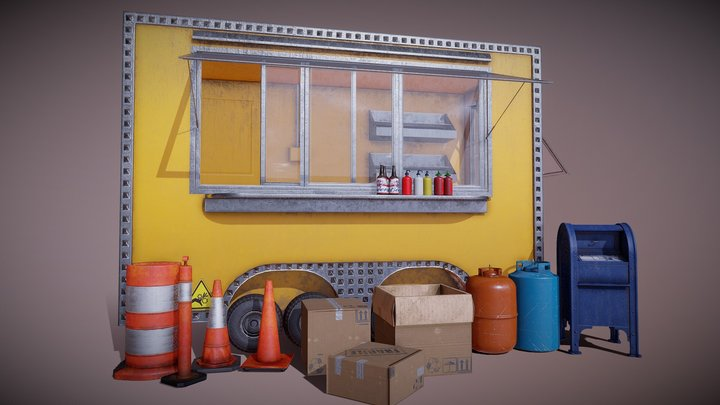 Food Truck with Street assets Mini Pack 3D Model