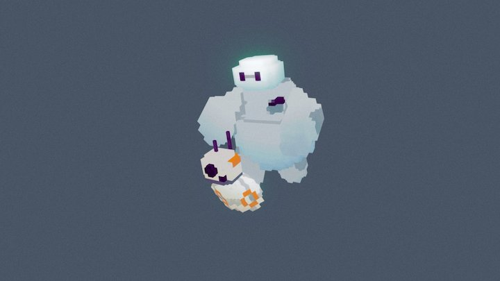 Baymax and bb8 voxel edition 3D Model