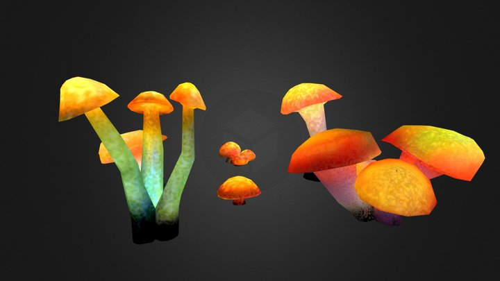Glowing Mushrooms Collection 3D Model