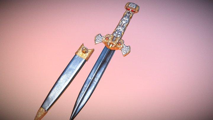 Epic Dagger and sheath 3D Model