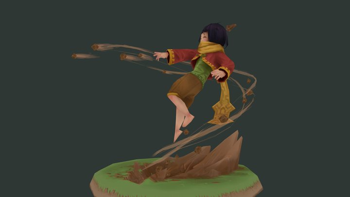 Earth Mage lowpoly character 3D Model
