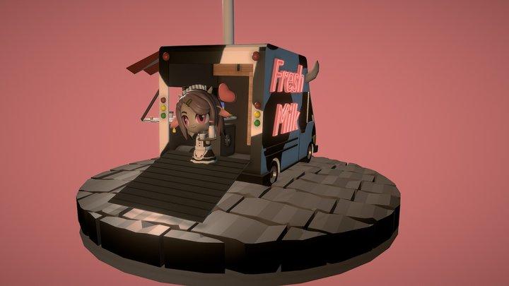 Latte Chibi 3D Model