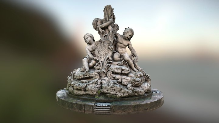 Fountain with three putts, Brno Lužánky 3D Model