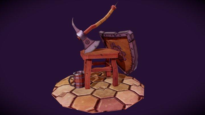 Axe, Stool, Shild and Mug (lowpoly micro scene) 3D Model
