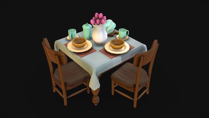 Table - FFIX scene fan art prop 3D Model