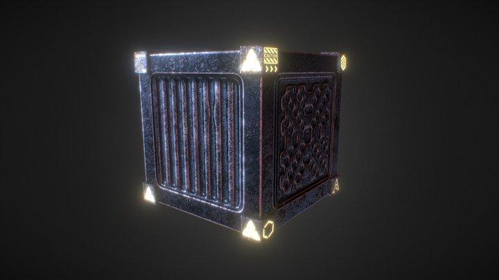 Crate Cube Box Sci-fi (game ready) 3D Model