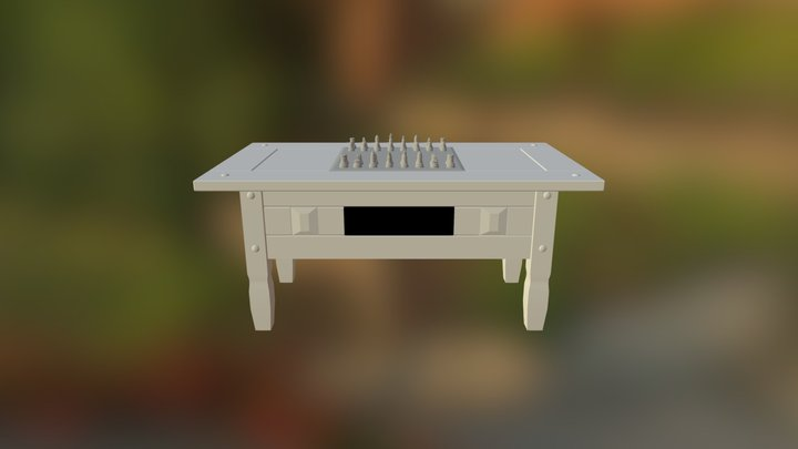 Table With Chessboard 3D Model