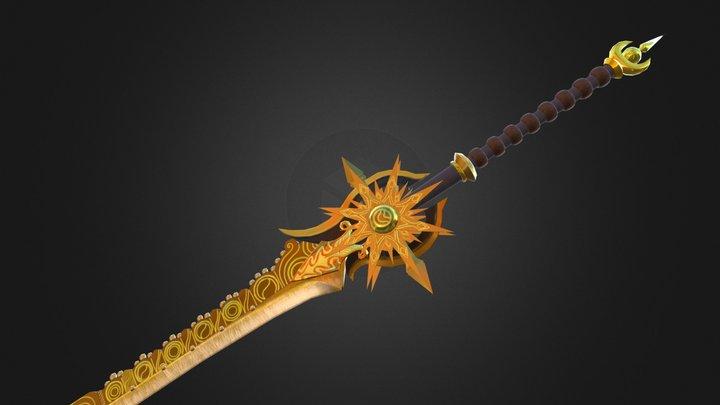 Golden Fantasy Sword 3D Model