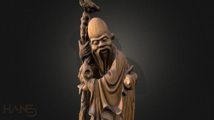 Sculpture Japanese old man Walking Cane 3D Model