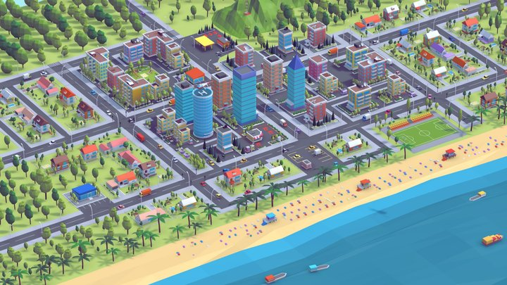 Polygonia Low Poly City Pack 3D Model