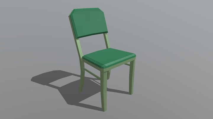 Lowpoly Vintage Steelcase Green Chair 3D Model