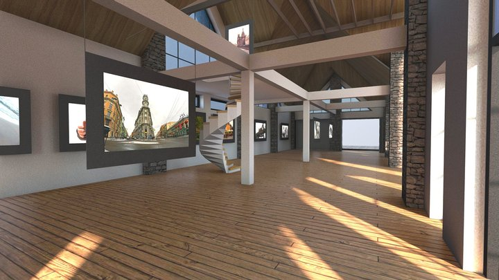 VR Gallery House Interior / Exterior  Baked 3D Model