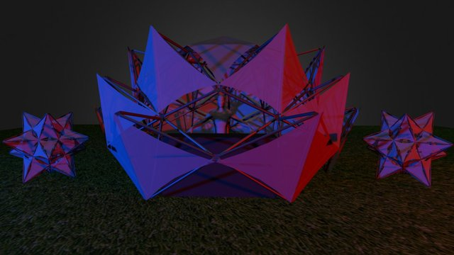 20ft Lotus Flower DJ booth with 2 Geodesic Stars 3D Model