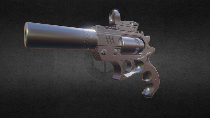 Hi-Poly Revolver 3D Model