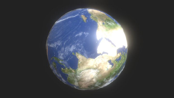 Animated 3D Earth lowpoly 3D Model