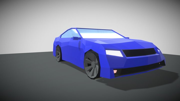 Low poly muscle car 3D Model