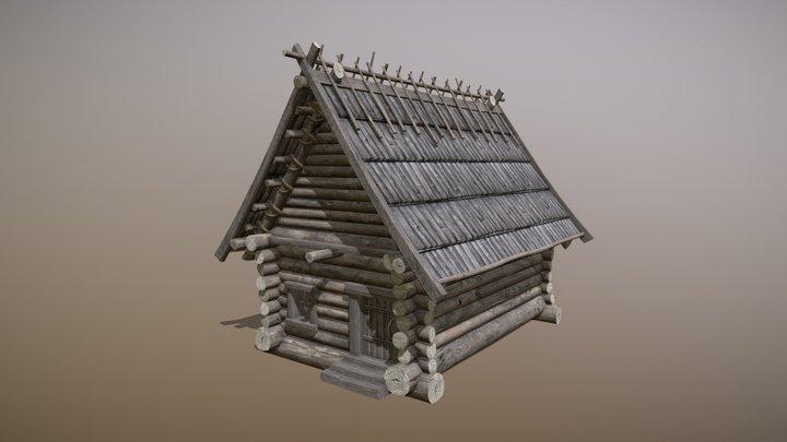 Wooden Log House 3D Model
