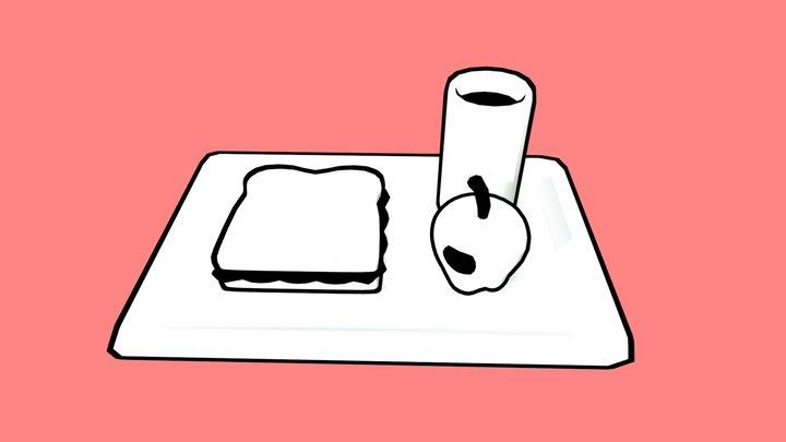 2D 3D Lunch 3D Model