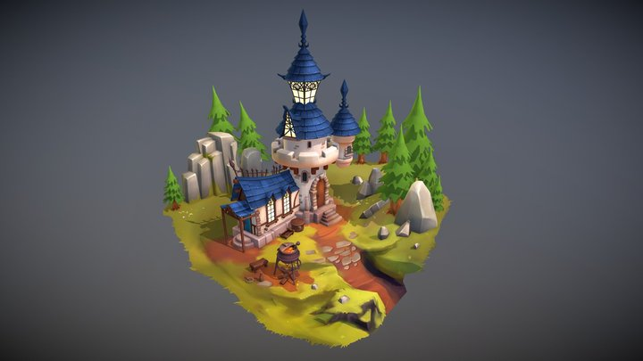 Stylized Castle Diorama 3D Model