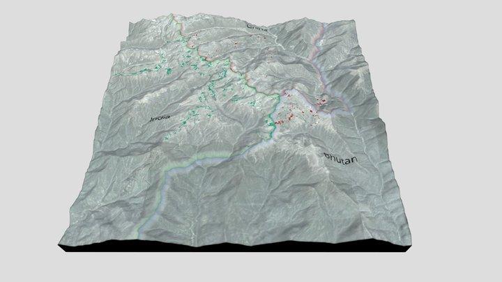 Doklam 3D Terrain Model - Topographic 3D Model