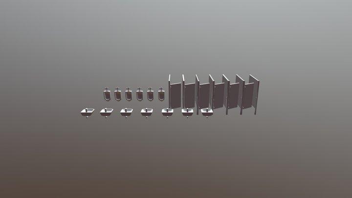 Sims Style Basic Public Toilet Set 3D Model