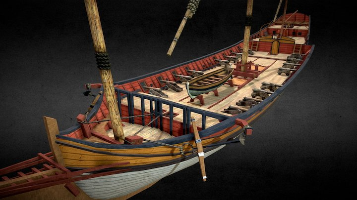 Sailing ship Xebec (low poly) 3D Model