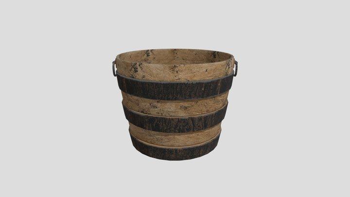 wood Barrel Planter 3D Model