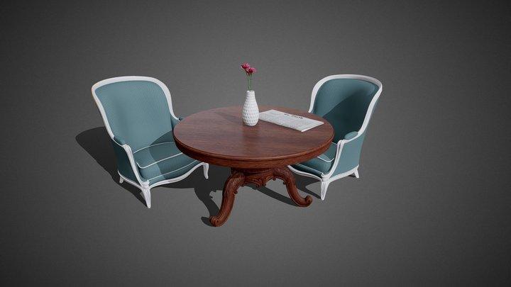 Stylish Furniture Set 1 3D Model