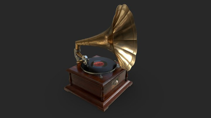 "Gramophone ""His Master's Voice"" 3D Model"