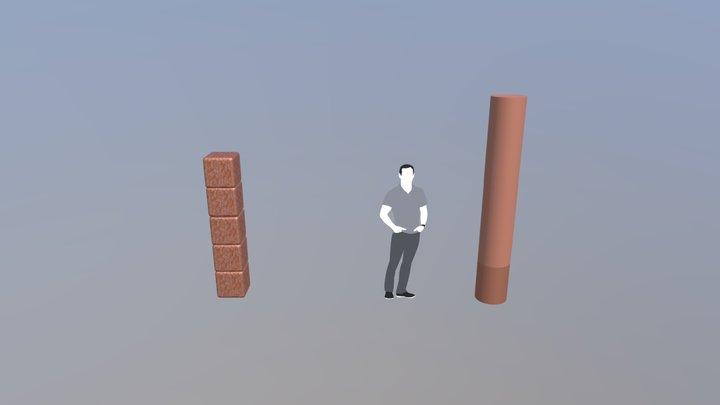 Zwei Säulen 3D Model