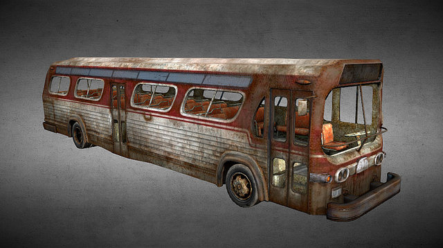 Rusty old bus 3D Model