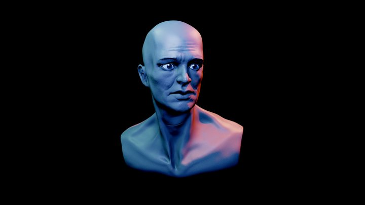 Melancholy Dude Bust 3D Model