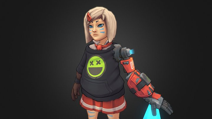Stylized School Girl Dot - Rage Squad Character 3D Model