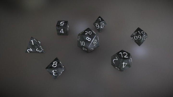Black Marble Dice Set RPG 3D Model