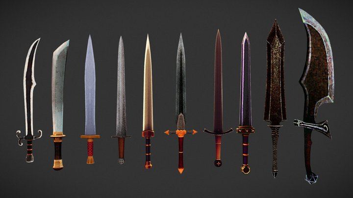 Low Poly Low Resolution Sword Pack 3D Model