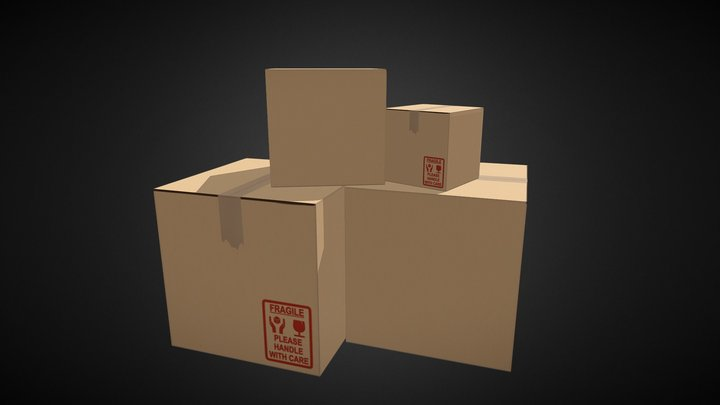 Cardboard Box (first try) 3D Model