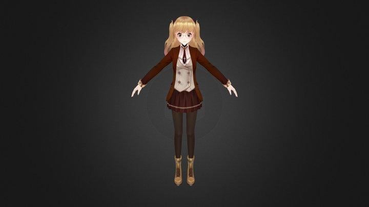 anime girl in Hogwarts costume 3D Model