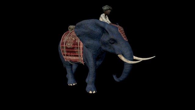 boy and elephant walking 3D Model