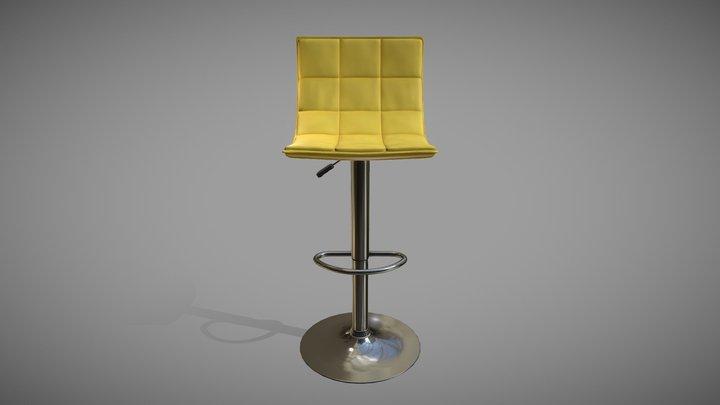 Yellow vinyl padded bar stool Low-poly 3D model 3D Model