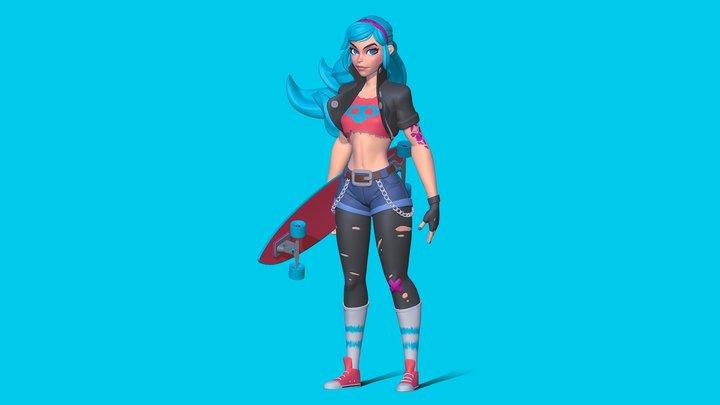 Skater Girl 3D Model