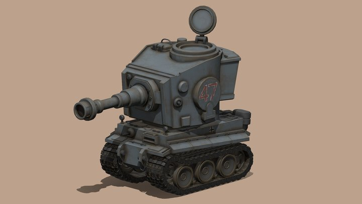 Stylized cartoon Tiger Tank 3D Model