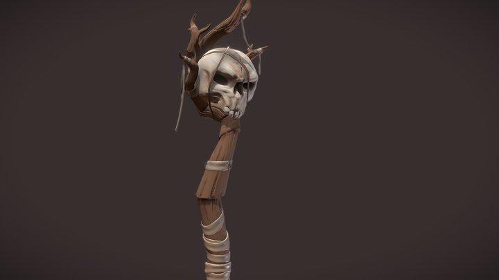 Stylized Necromancer Staff 3D Model