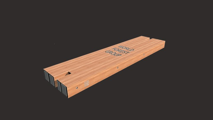 "12""x48""x16' TwoNotch WFG Eucalyptus Hardwood Mat 3D Model"